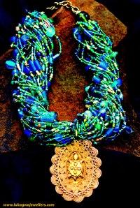 #Turqouise Necklace #Ashanti Bronze Pendant #African Necklace