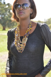 Cocoa Brown Masai Beaded African Necklace
