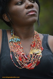 Turquoise Red Masai Beaded Necklace