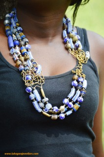 Blue Layered African necklace