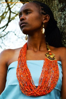 Orange Masai Beaded Necklace
